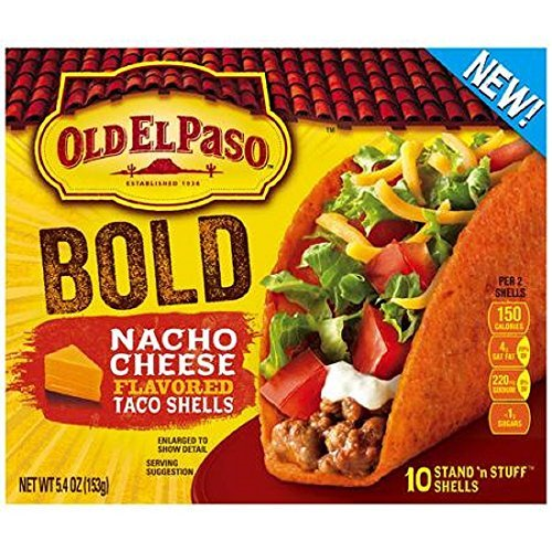 Old El Paso, Stand 'n Stuff, Nacho Cheese Flavored Taco Shells, 10 Count, 5.4oz Box (Pack of 3) (Taco Cheese compare prices)
