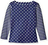 Scout + Ro Girls' Long Sleeve Mixed Print Jersey Tee, Flag Blue, 4