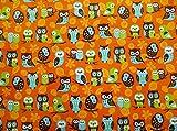 コスモテキスタイル アニマルダイアリー フクロウ オックス AP51405 約110cm巾×50cmカット col.1D
