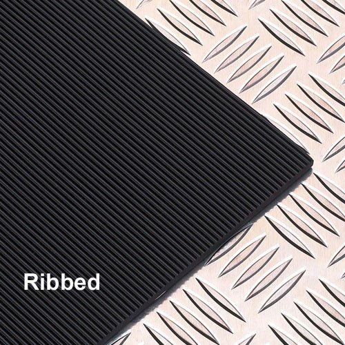 GARAGE AND WALKWAY RIBBED BLACK RUBBER FLOORING 1220MM X 10M. 3MM THICK