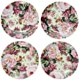 English Rose Pattern Child's Tea Party Fine China Cup Cake Plates - Set of Four