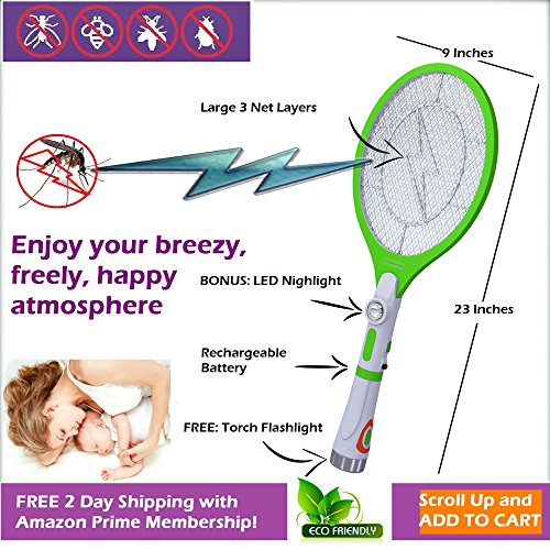 Electric Mosquito Bug Fly Insect Wasp Swatter Zapper ...