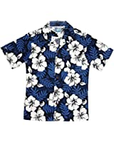 RJC Boy's White Hibiscus Fern Hawaiian Shirt