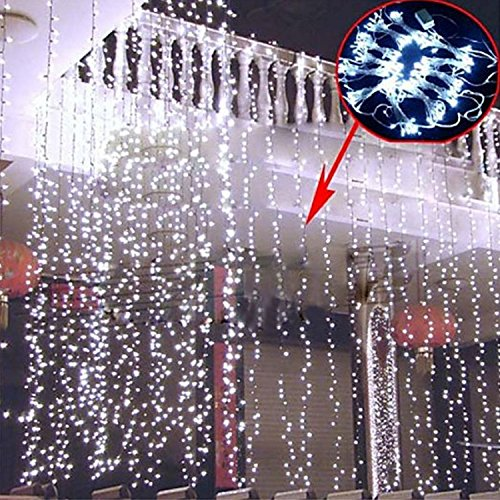 Sunsbell 600 Led Window Curtain Decoration Lights String Fairy Light Wedding Party Home Garden Decorations 6M*3M (Pure White)