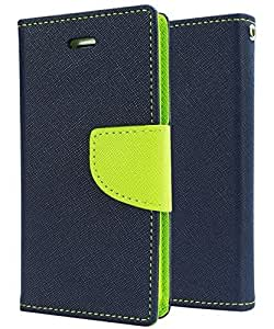 SCHOFIC Premium Fancy Wallet Diary Faux Leather Mobile Flip Case Cover [Pouch] with Card Slots [POCKETS] , Stand View and Magnetic Strap [LOCKING] for Samsung Galaxy E5 -Navy Blue