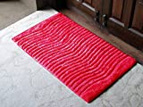 AURAVE Anti-skid Cotton Bath Mat-High Absorbency - RED - Regular