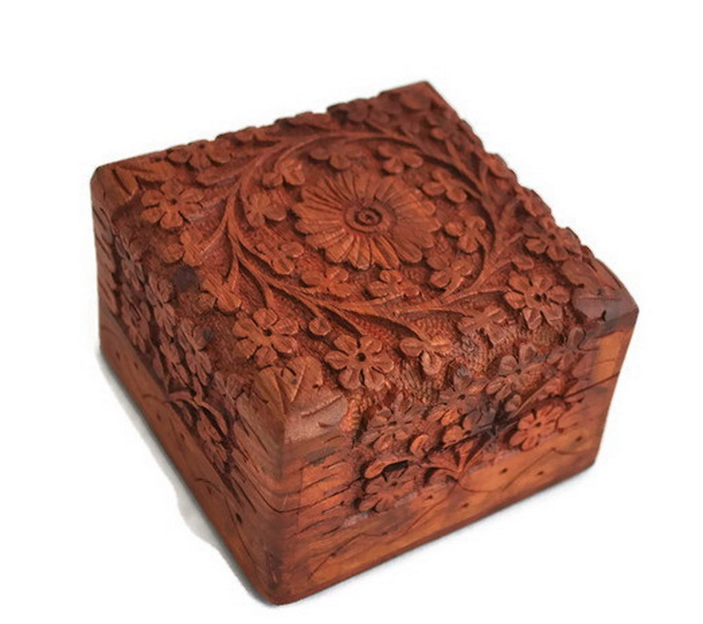 Christmas Thanksgiving Gifts - StarZebra Jewelry Box Novelty Item, Unique Artisan Traditional Hand Carved Rosewood Jewelry Box From India - Beautiful Gift Inside