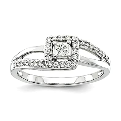 14k White Gold Diamond Complete Engagement Ring