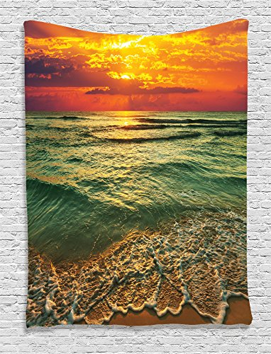 Ambesonne-Ocean-Decor-Collection-Serenity-View-of-Mystic-Sunset-at-Dusk-Behind-Dense-Clouds-Wavy-Sea-and-Sandy-Beach-Picture-Bedroom-Living-Room-Dorm-Wall-Hanging-Tapestry-Teal-Orange-Ivory