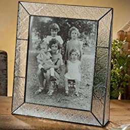 J Devlin Pic 126-81V Stained Glass Photo Frame Clear Vintage Textured Glass 8x10 Vertical Portrait Picture