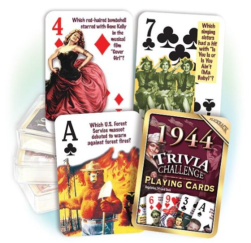 Flickback 1944 Trivia Playing Cards: Birthday gift or Anniversary gift - 1