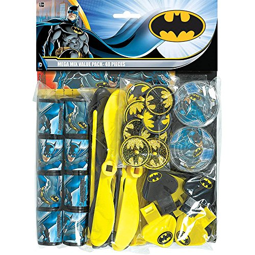 "Amscan Awesome Batman Mega Mix Value Pack (48 Piece), Multi, 11 1/2 x 9"" - 1"