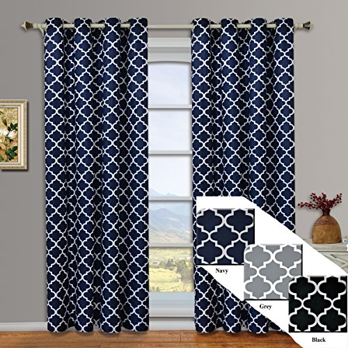 Meridian Navy Grommet Blackout Window Curtain Drapes, Pair / Set of 2 Panels, 52x96 inches Each, by Royal Hotel (Royal Hotel Drapes compare prices)