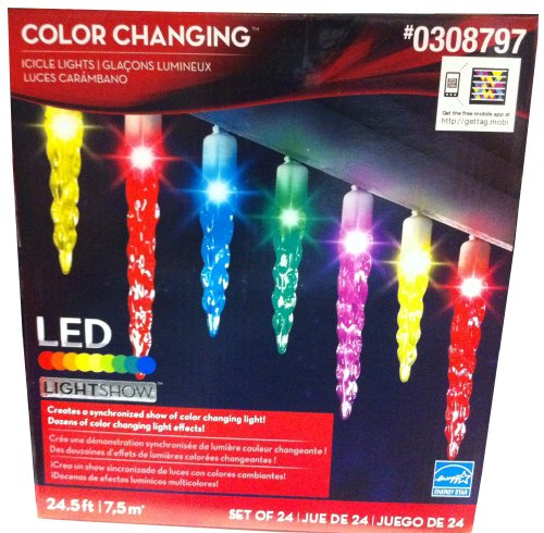 24ct Multicolor LED Christmas Icicle Lights Lightshow