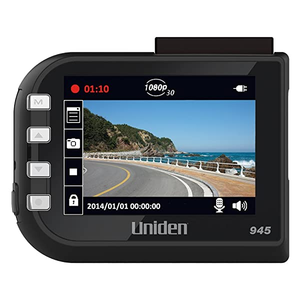 Uniden DC4, 1080p Full HD Dash Cam, 2.4 LCD, G-Sensor with Collision Detection, Loop Recording, 148-degree Wide Angle Lens, Lane Departure Warning, 8GB Micro SD Card Included