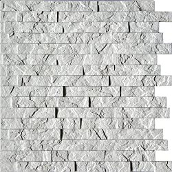 Wall Panel Ledge Stone - Decorative Interlocking Thermoplastic Tiles 2x2 (Crystal White)