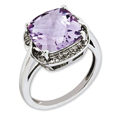 Sterling Silver Pink Quartz and Rough Diamond Ring - Ring Size Options Range: J to T