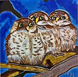 Continental Art Center BD-2015 8 by 8-Inch Three Owls with Blue Background Ceramic Art Tile