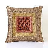 Jodhaa Cushion Cover With Velvet/Brocade In Beige/Gold