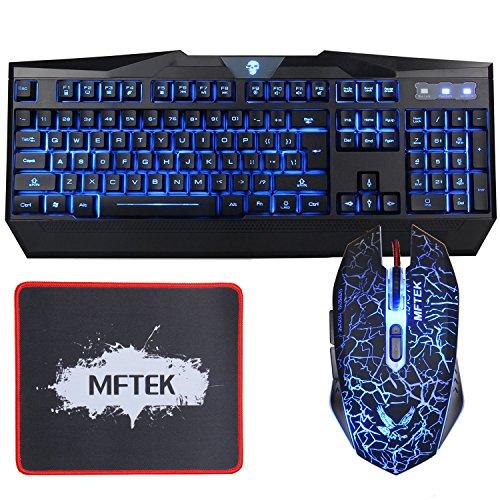MFTEK USB LED retroilluminato illuminato luminoso 3 Colore Rosso Blu Viola design regolabile Gaming Tastiera E Mouse Set Combo Laptop Gamers desktop Lavorare con Mouse Pad (13 Inch* 9 Inch)