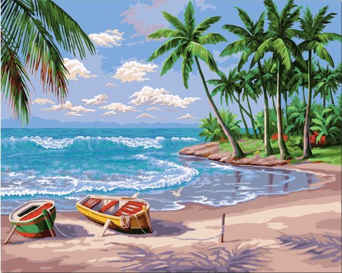 Diy oil painting, paint by number kit- Sunny Beach 16*20 inch.