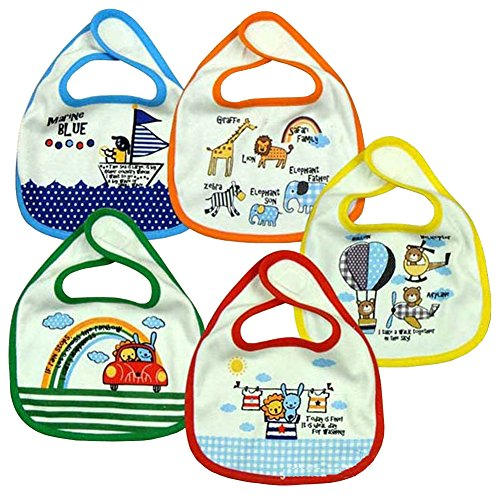 Chaohui Baby Bib 5pack Small Bib Waterproof Car Group Catton Baby Bibs(animal)