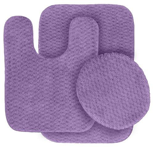 Purple Bathroom Mat Sets: Garland Rug 3-Piece Cabernet Nylon Washable Bathroom Rug
