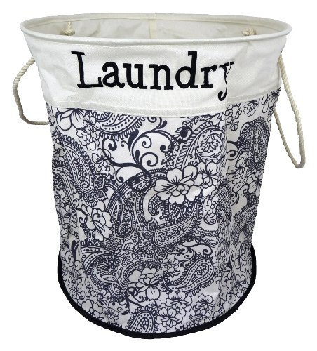 Black Floral JVL Pop-Up Storage Laundry Bin Basket Hamper