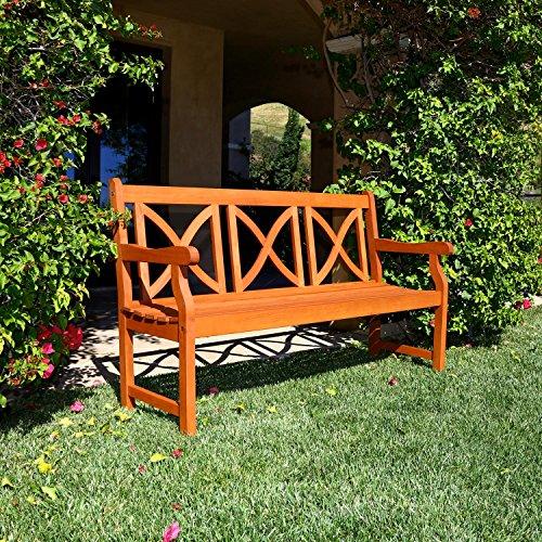 Vifah V100 Outdoor Wood Bench X Back Design Natural Wood