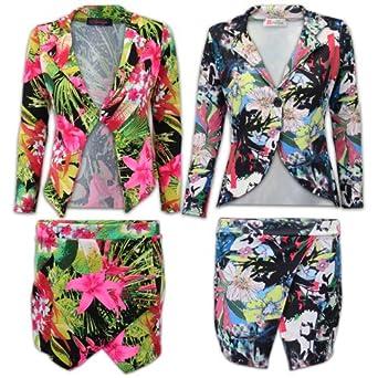 veste blazer tailleur femme mini jupe short fleurs manche longue et neuf eu 36 jupe short. Black Bedroom Furniture Sets. Home Design Ideas
