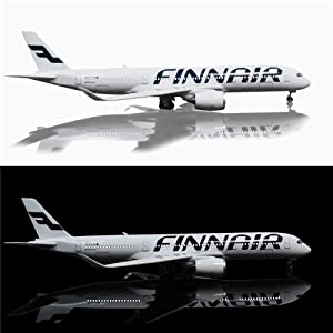 24-Hours 18 1:142 Airplane Model Finn Airbus 350 with LED Light(Touch or Sound Control) for Decoration or Gift (Color: Finn Air 350)