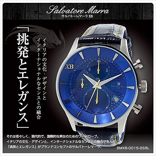 サルバトーレマーラ XB メンズ クロノ 腕時計 SMXB-001S-SSBL ブルー文字盤 ブラックレザーベルト [並行輸入品]