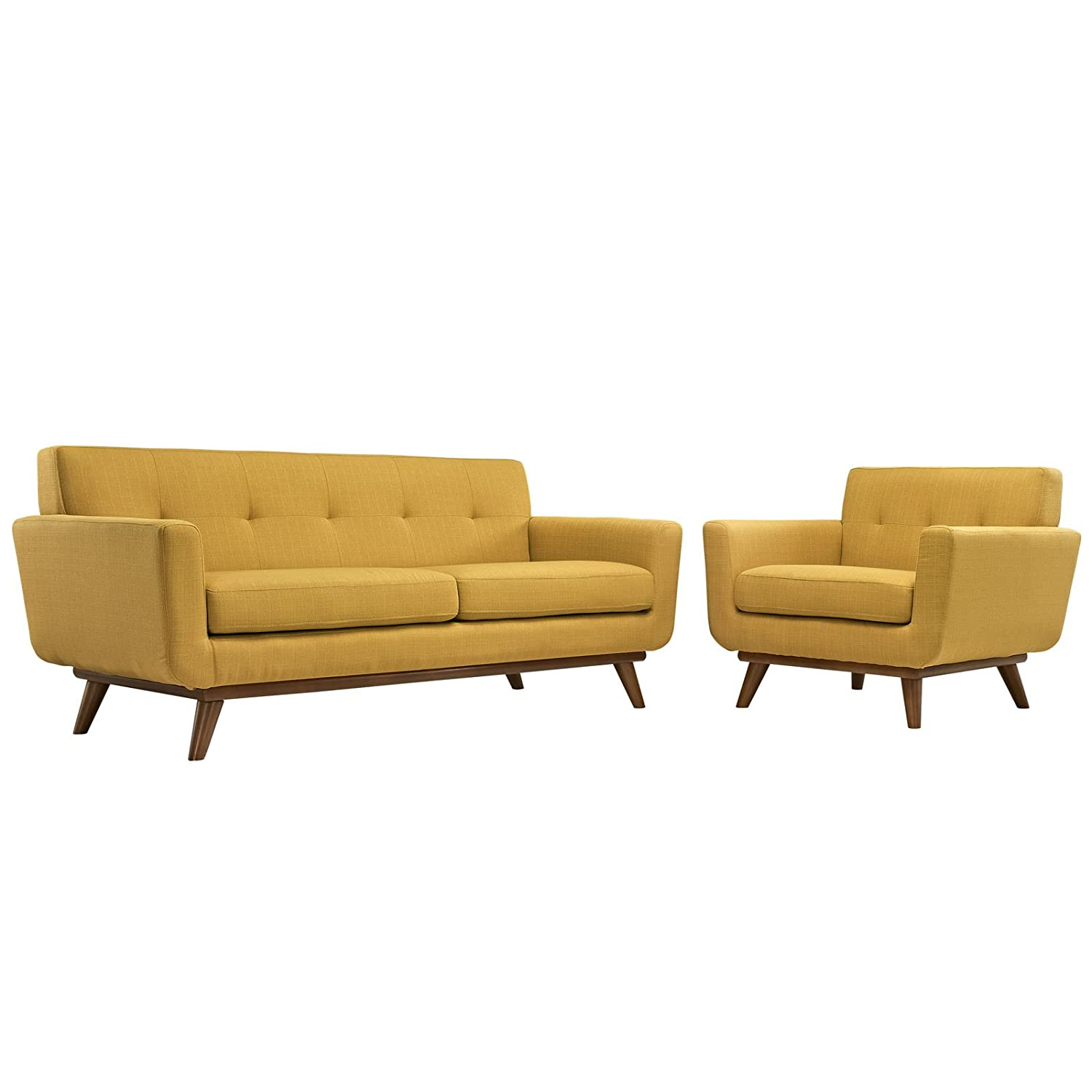 LexMod Engage Armchair and Loveseat - Citrus - Set of 2