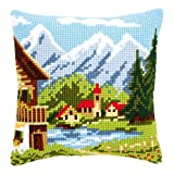 Vervaco Alpine Village I Cross Stitch Cushion Multi Colour