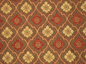 Burgundy and Gold Bulb Brocade 58 Inch Fabric