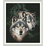Joy Sunday Stamped Cross Stitch Kits - Counted Cross Stitch Kit, Cross-Stitching Patterns Two Wolf 14CT Pre-Printed Fabric - DIY Art Crafts & Sewing Needlepoints Kit for Home Decor 20''x17'' (Tamaño: 14CT Stamped)