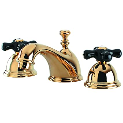 Kingston Brass KS3962PKX Restoration Widespread Bathroom Faucet with Pop-Up Drain, 6-1/2-Inch, Polished Brass