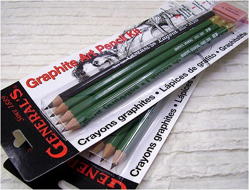 Generals Mini Drawing Kit - Set of 5 Includes 3 Drawing Pencils, Layout Pencil, and Eraser - 1