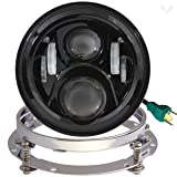 Eagle Lights 7 Inch Round Generation 2 Black LED Headlight for Harley Davidson with Adapter Ring (Color: Black with Adapter Ring)