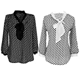 Allegra K Womens Tie-Bow Neck Dots Blouse
