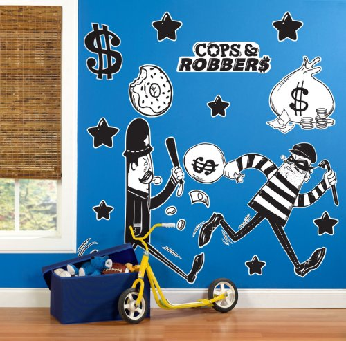 [Police Cops and Robbers Party Supplies - Giant Wall Decals] (Police Officer Party Supplies)