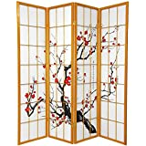 Oriental Furniture 6 ft. Tall Flower Blossom Divider - Honey - 4 Panels