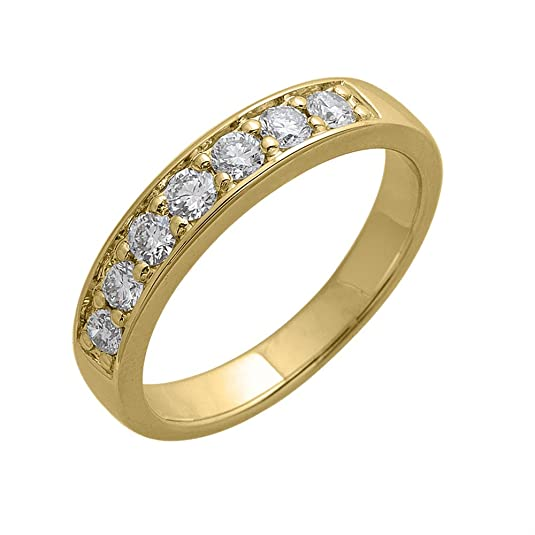 Diamond Delight Women's 18K 7 Stone Pave Set Wedding Ring (SI1-SI2, 1/2 Carat)