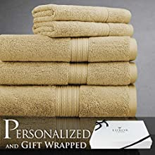 Luxor Linens Bliss Collection Egyptian Cotton 6-Piece Towel Set - Gold - with Gift Packaging