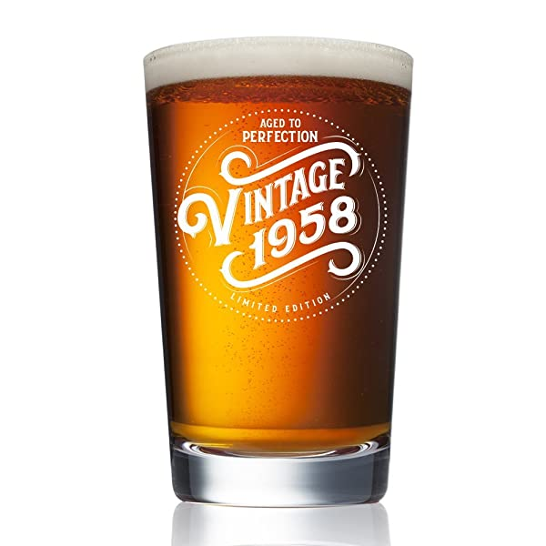 1958 60th Birthday Gifts For Women And Men Beer Glass