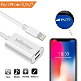 Dual Lightning Adapter Splitter for iPhone 7, 7Plus, 8, 8Plus, iPhone X, Sellemer Headphone Jack Audio/ Charge Adapter Compatible Music Control, Charge Power Bank Sync Date (White)