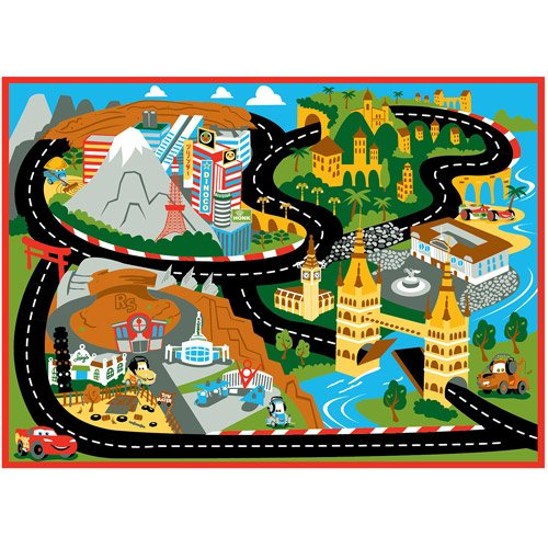 Disney Pixar Cars Game Rug Mount Fuji 31.5 in x 44 in - Includes 1 Car