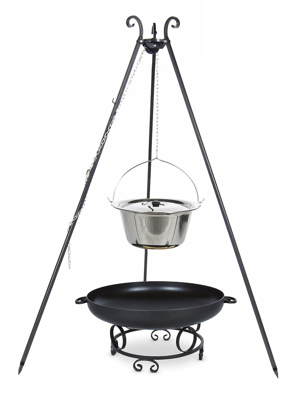 Gulaschkessel 10 ltr. Edelstahl mit Deckel auf Dreibein, inkl. Feuerschale # 43 günstig bestellen