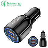 KingLeer Car charger with Quick Charge 3.0 port and Smart 3.1A port Fast Car Charge, 35W Dual ports for iPhone X/8/7/6s/Plus, iPad Air 2/mini 3, Samsung Galaxy S9/S8/S7 Note(Qualcomm Certified) (Color: Black)