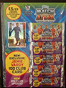Topps Match Attax 2015/2016 Multipack 15/16 Trading Cards With Jamie Vardy 100 Club Card